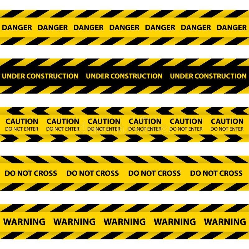 Grupo de fitas amarelas da barreira ilustração stock