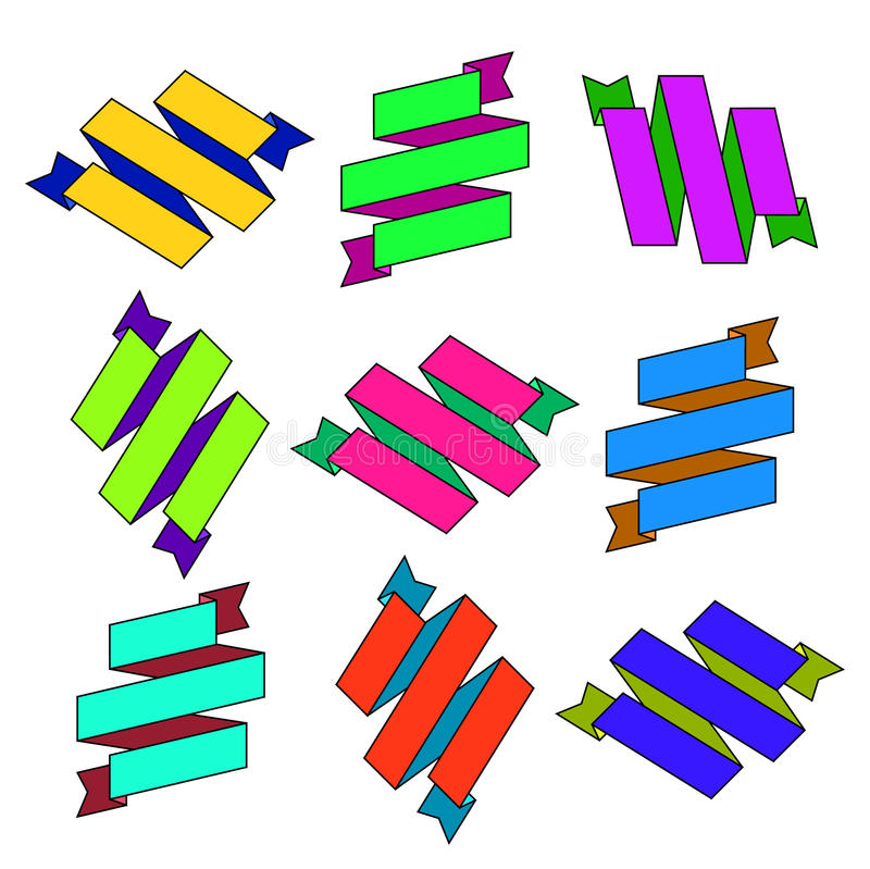 Grupo de fitas coloridas papel do ziguezague dos desenhos animados ilustração stock