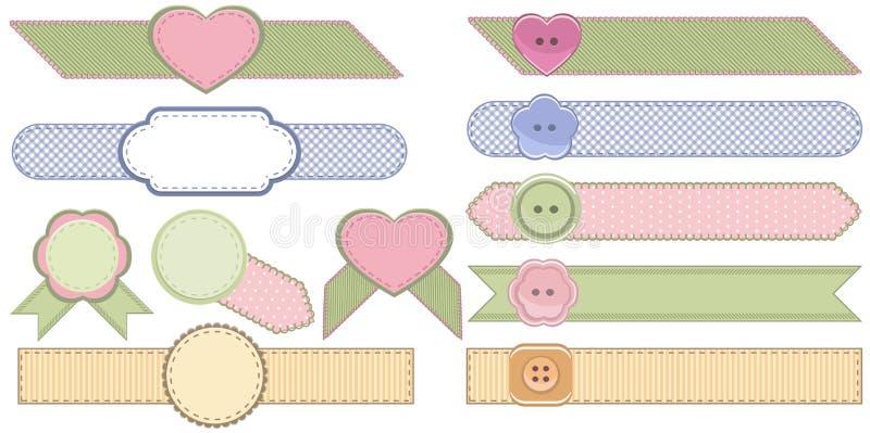 Grupo de fitas da forma e de crachás da tela ilustração stock