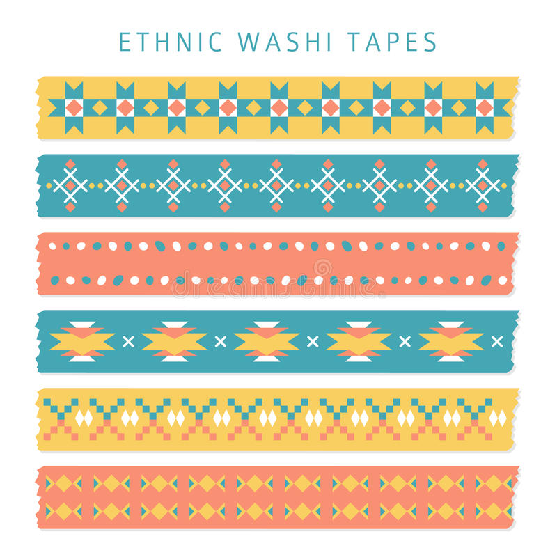 Grupo de fitas do washi com os testes padrões na moda do asteca, do mexicano ou do Navajo, étnicos ilustração royalty free