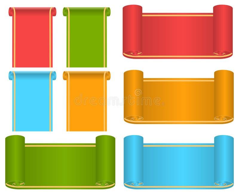 Grupo de fitas e de etiquetas multi-coloridas ilustração stock