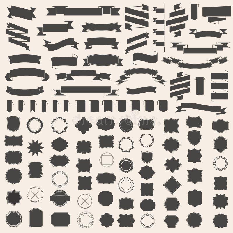 Grupo de fitas e de quadro, crachá, etiqueta Moldes do vetor para seu projeto ilustração do vetor