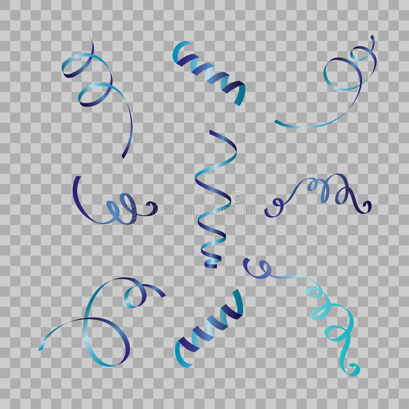 Grupo de fitas serpentinas, no fundo Confetes das flâmulas Ilustração do vetor da decoração colorida luz de queda