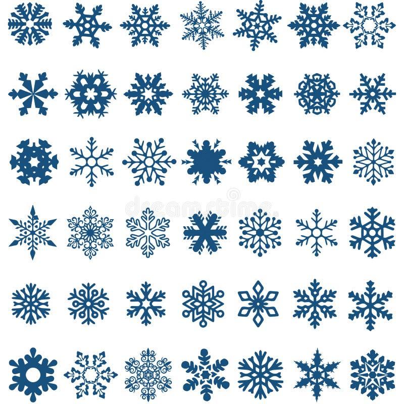 Grupo de flocos de neve azuis do vetor em um fundo branco fotos de stock royalty free