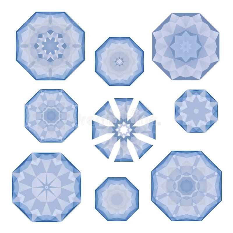 Grupo de flocos de neve poligonais azuis no branco, no vetor ilustração royalty free