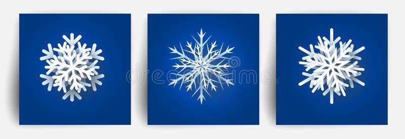 Grupo de flocos de neve do Natal Elementos de papel do projeto do corte 3d Floco da neve do corte do papel do Natal Ilustração do ilustração stock