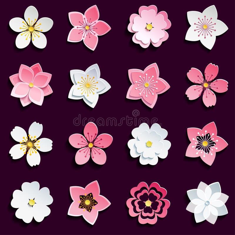 Grupo de flor de cerejeira, flores de sakura ilustração stock