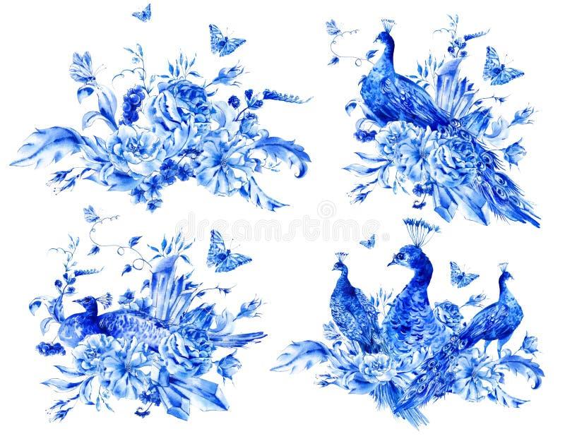 Grupo de flores e de pavão azuis isolados da aquarela ilustração stock