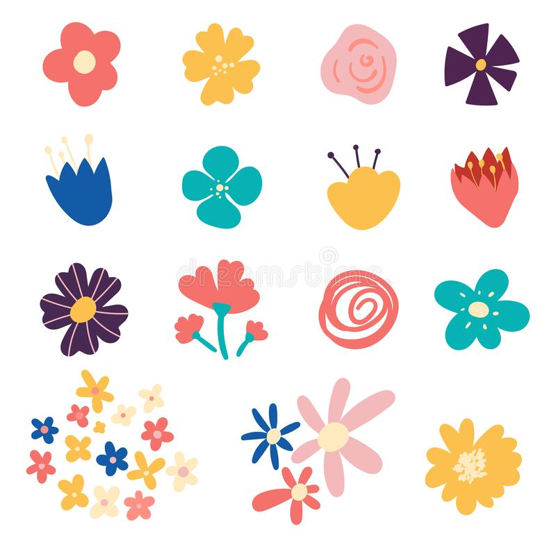 Grupo de flores e de elementos florais isolados no fundo branco Ajuste das flores desenhados à mão bonitos da mola Muitos brilhan ilustração stock