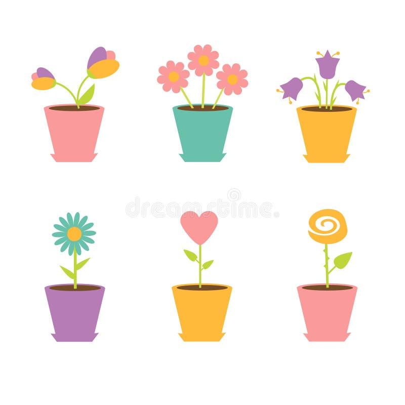 Grupo de flores em uns potenciômetros ilustração royalty free