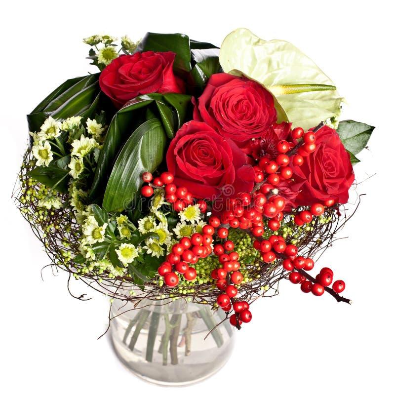 Grupo de flores no vaso imagens de stock