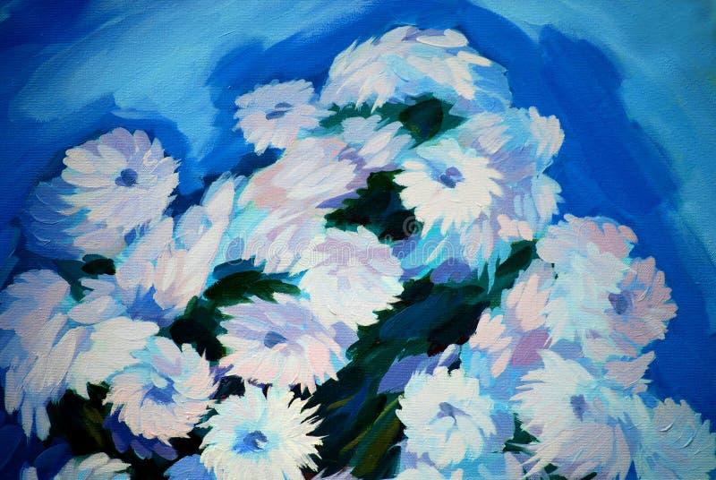 Grupo de flores, pintando em uma lona ilustração stock
