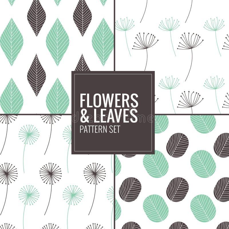 Grupo de flores, teste padrão das folhas - vector a ilustração ilustração stock