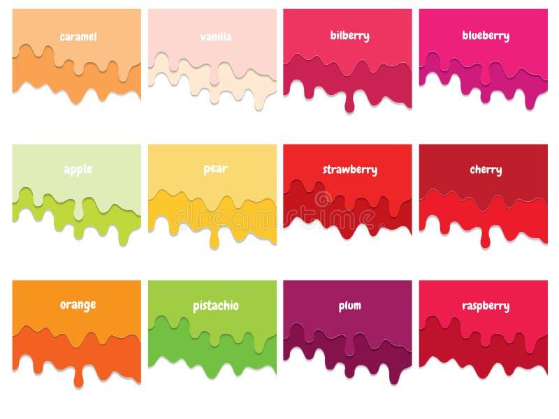 Grupo de fluxo do xarope do fruto Melted camadas 3d cortadas papel Copie o espaço para o texto ilustração stock
