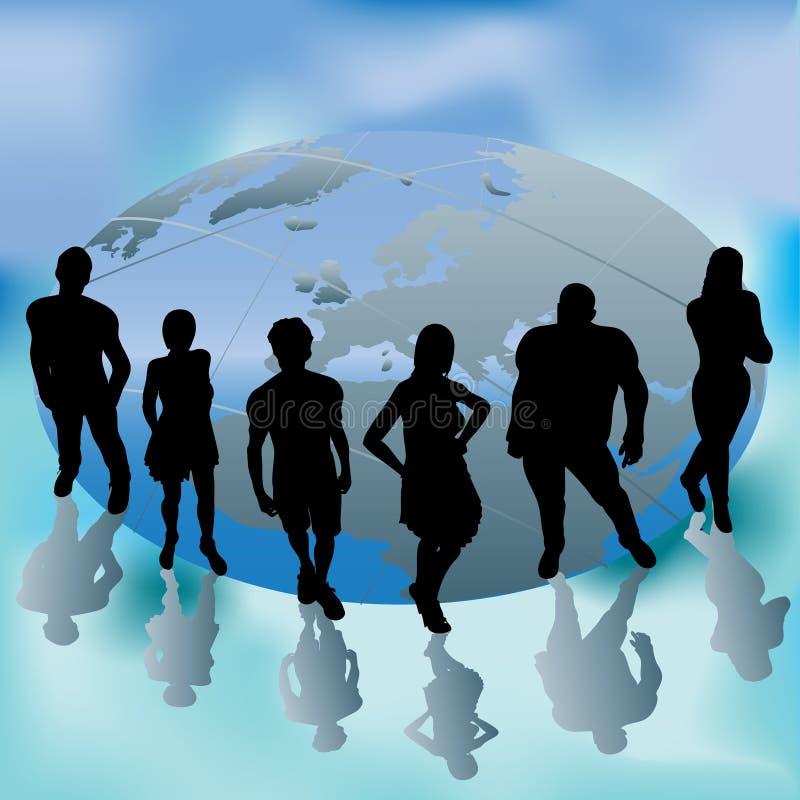 Grupo de foco do mundo ilustração stock