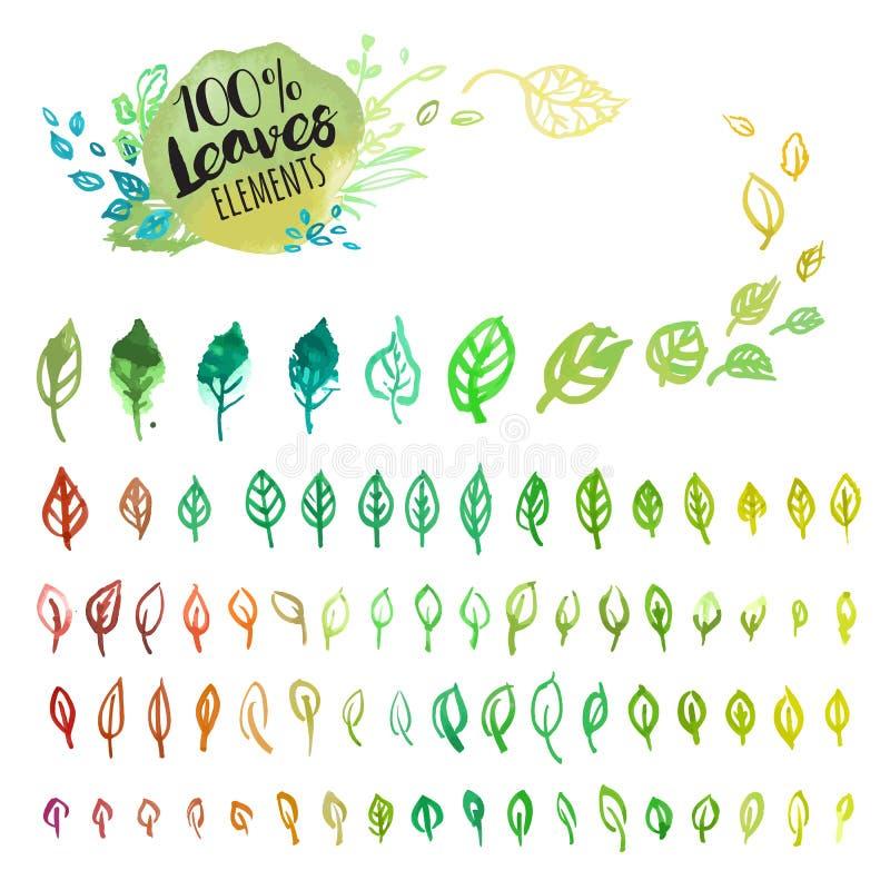 Grupo de folhas coloridas tiradas mão da aquarela ilustração stock