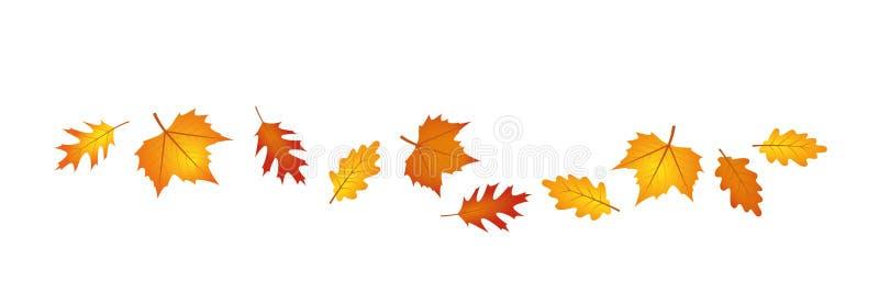 Grupo de folhas de outono no vento ilustração royalty free