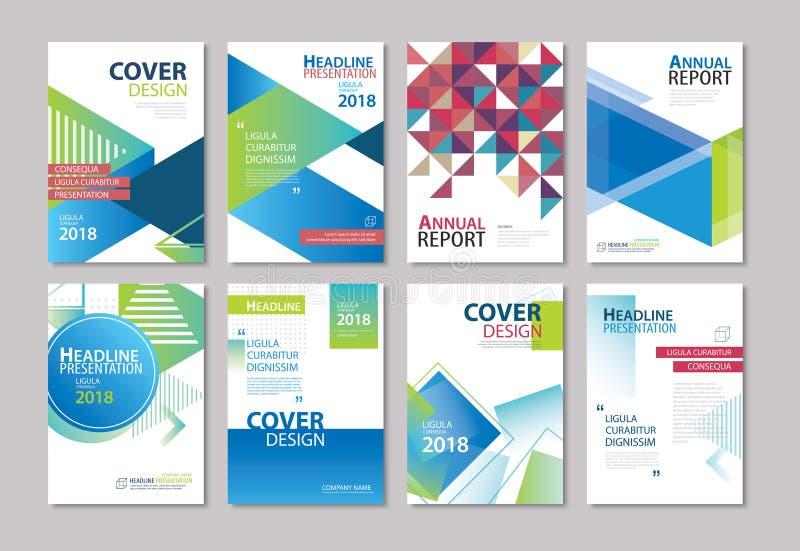 Grupo de folheto azul da tampa, inseto, informe anual, disposição de projeto ilustração do vetor