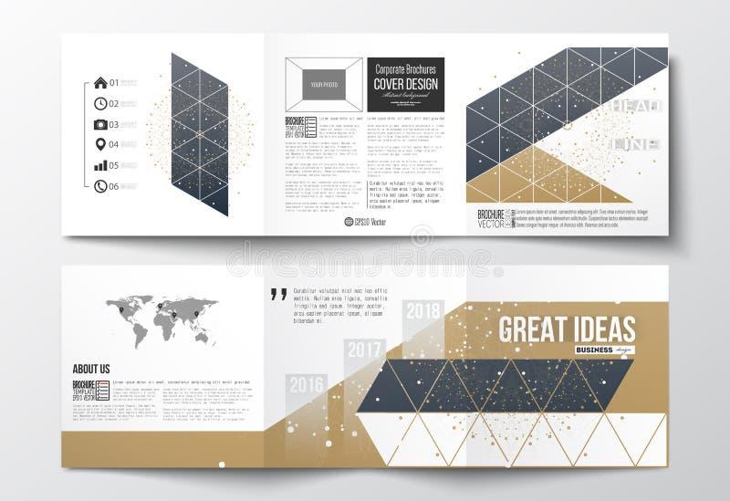 Grupo de folhetos dobráveis em três partes, moldes quadrados do projeto Contexto poligonal com pontos e linhas de conexão, fundo  ilustração royalty free