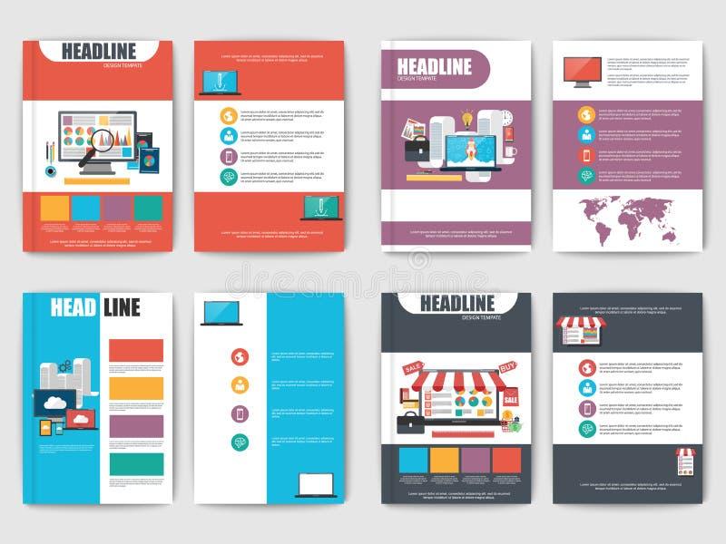 Grupo de folhetos lisos da apresentação de múltiplos propósitos ilustração royalty free