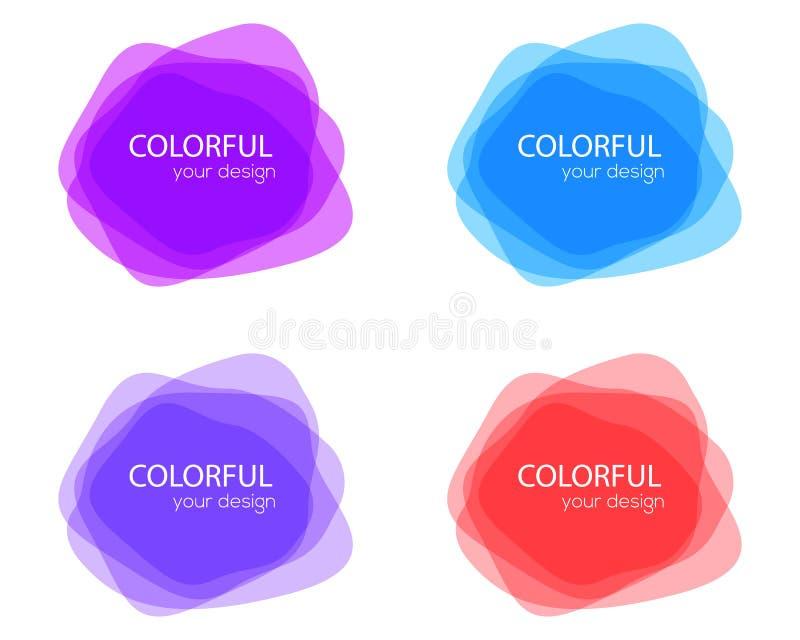 Grupo de formas coloridas redondas do vetor Bandeiras abstratas do vetor Elementos do projeto Etiqueta do divertimento ou projeto ilustração do vetor