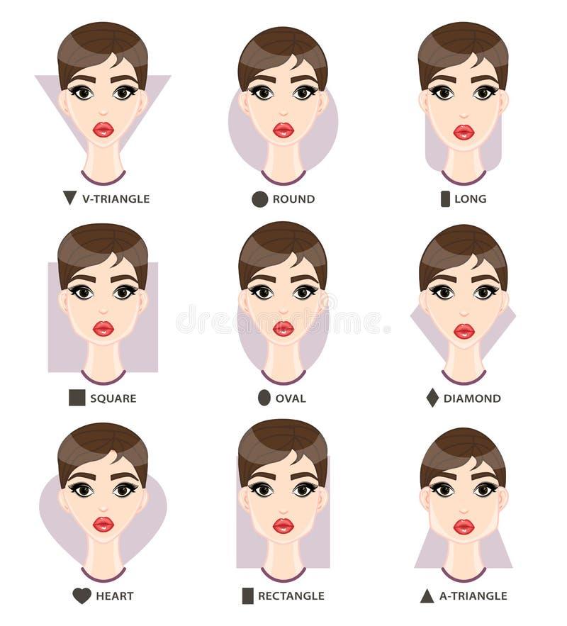 Grupo de formas da cara da mulher diferente Formulário fêmea de nove caras ilustração royalty free