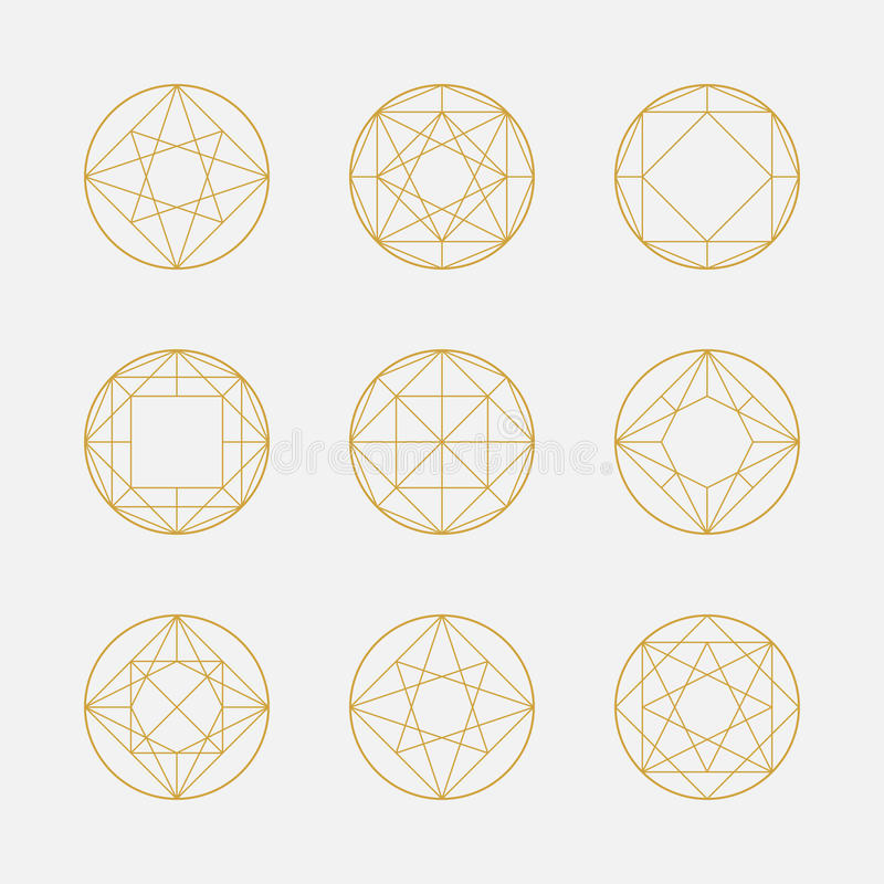 Grupo de formas, de quadrados e de círculos geométricos, linha projeto, ilustração do vetor