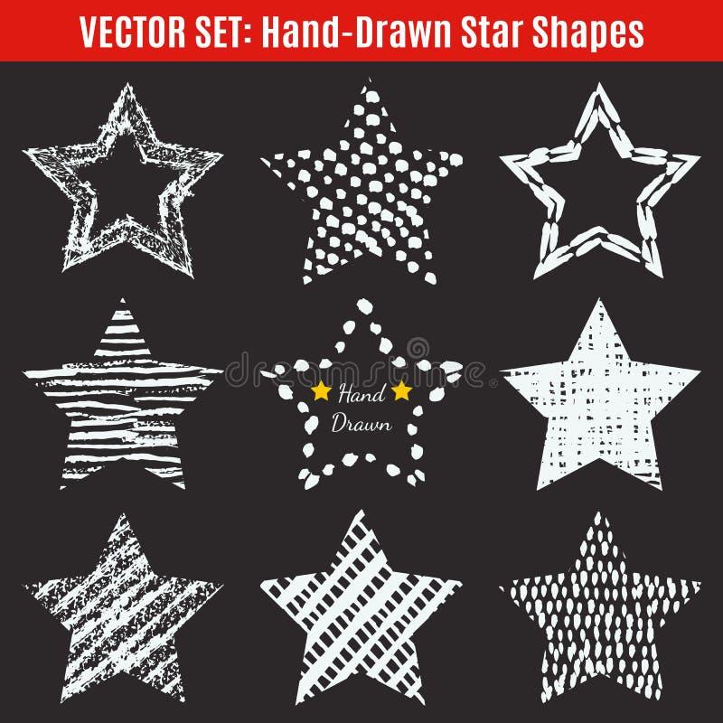 Grupo de formas desenhados à mão da estrela das texturas Vetor ilustração royalty free