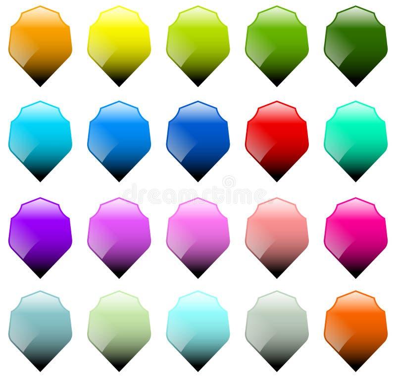 Grupo de 16 formas do protetor com cores diferentes ilustração stock