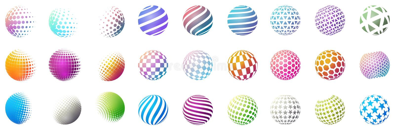 Grupo de formas minimalistic Esferas brilhantes de intervalo mínimo da cor isoladas no fundo branco Emblemas à moda Esferas do ve ilustração royalty free