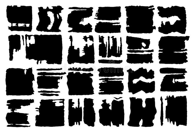 Grupo de formas retangulares do vetor do grunge Bandeiras do vetor Formas abstratas Bloco grande Arte do Grunge Fundo retro Backg ilustração do vetor