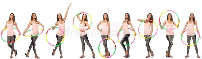 Grupo de fotos com a aro da mulher e do hula foto de stock royalty free