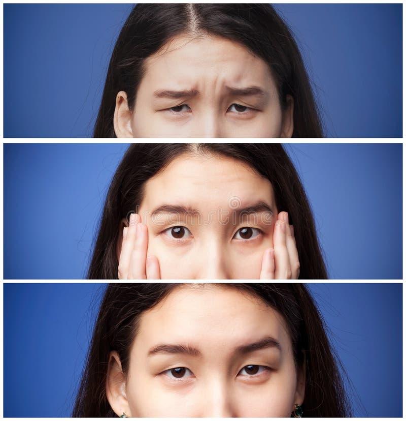 Grupo de fotos dos olhos e das sobrancelhas asiáticos da menina com emoções diferentes imagem de stock
