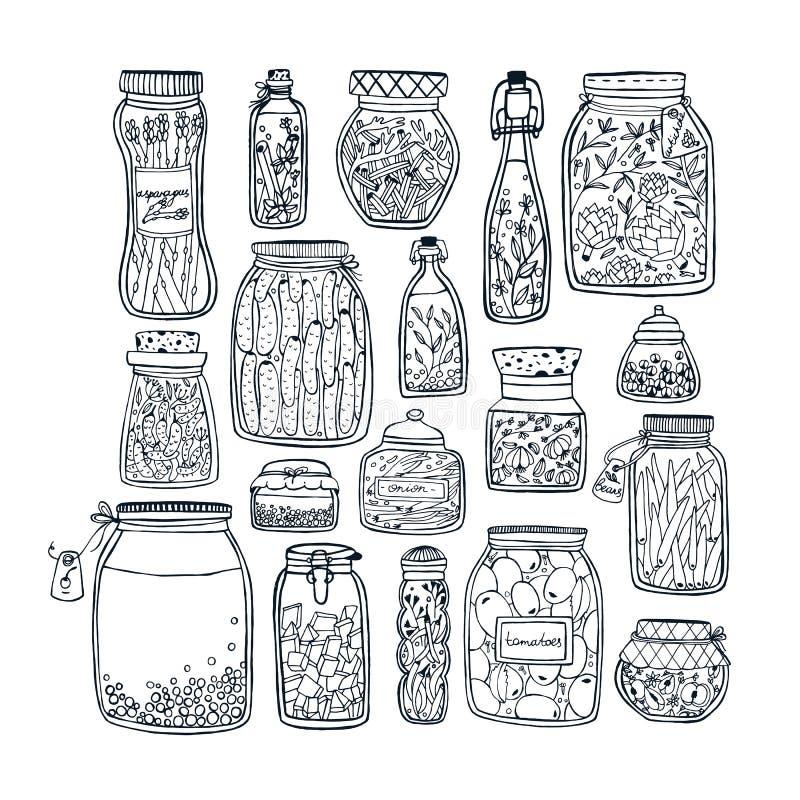 Grupo de frascos conservados com vegetais, frutos, ervas e bagas em prateleiras Alimento posto de conserva outono Ilustração do c ilustração stock