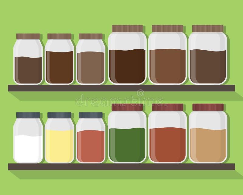 Grupo de frascos da cozinha com índice diferente Frascos da cozinha nas prateleiras Ilustração do vetor ilustração do vetor