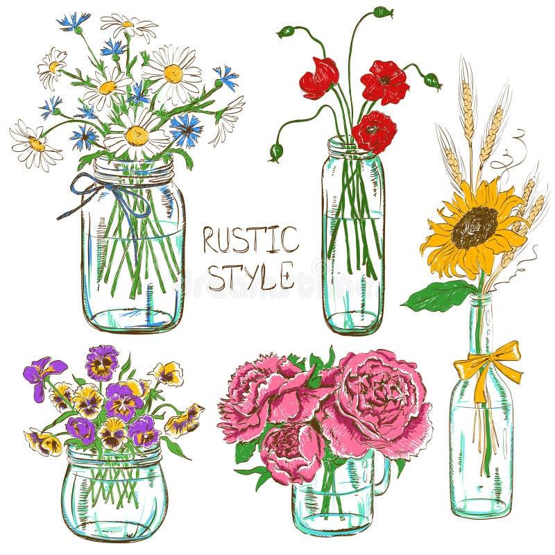 Grupo de frascos de pedreiro com flores ilustração do vetor