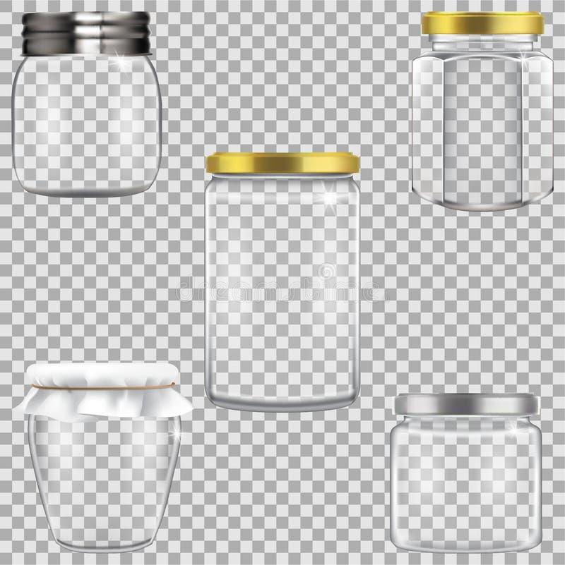 Grupo de frascos de vidro vazios para enlatar ilustração stock