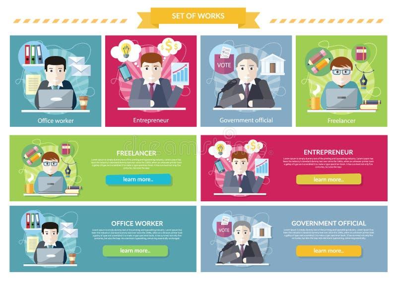 Grupo de Freelancer empregado trabalho do conceito ilustração stock