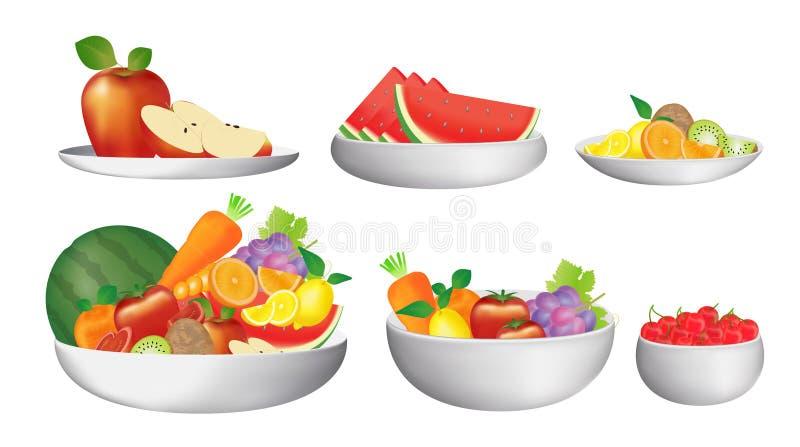 Grupo de fruta en un cuenco y platos ilustración del vector