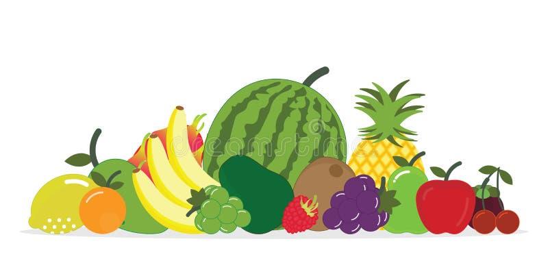 Grupo de fruta fresca aislado en el fondo blanco  libre illustration