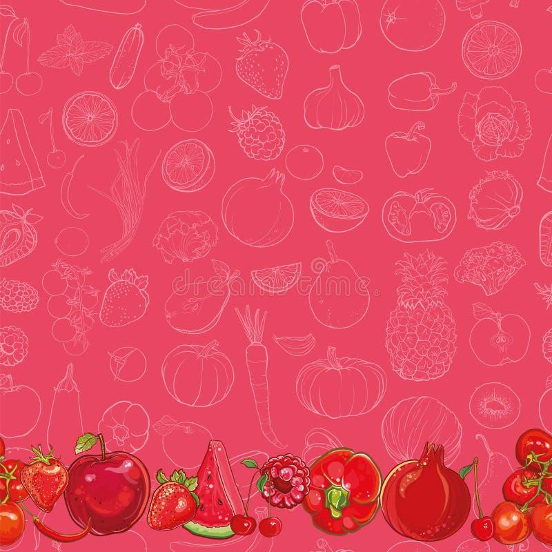 Grupo de frutas e legumes vermelhas no fundo vermelho claro ilustração royalty free