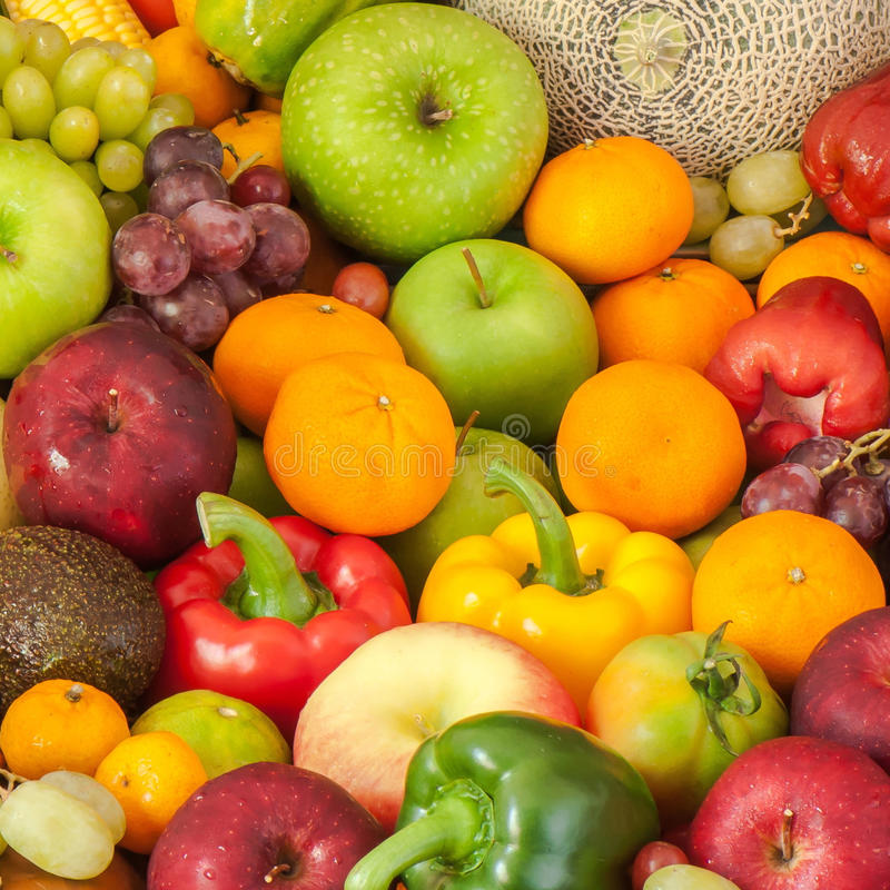 Grupo de frutas y verduras frescas imagen de archivo libre de regalías