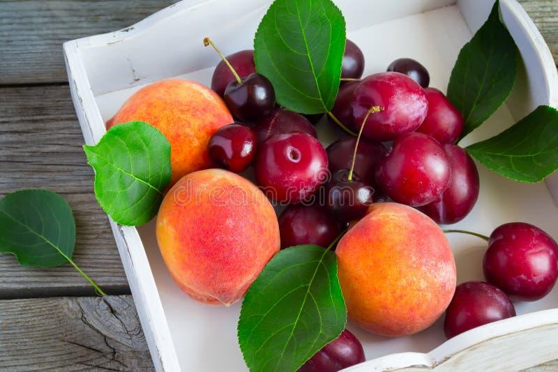 Grupo de fruto: pêssegos, ameixas, cerejas em uma bandeja branca imagens de stock royalty free