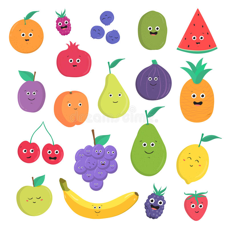 Grupo de frutos bonitos e de bagas com sorrisos Coleção brilhante do alimento do vegetariano no fundo branco Vetor colorido ilustração do vetor