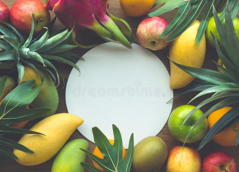 Grupo de frutos no espaço branco imagens de stock royalty free