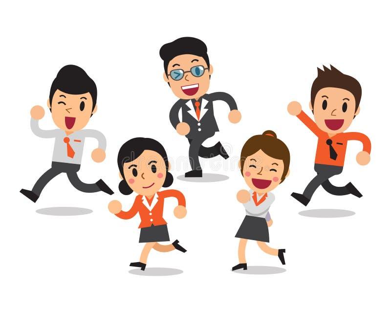 Grupo de funcionamiento de los hombres de negocios de la historieta y de las mujeres de negocios ilustración del vector