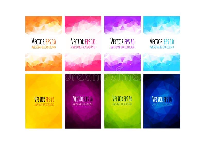 Grupo de fundo colorido do negócio do vetor Projeto incorporado geométrico abstrato ilustração stock