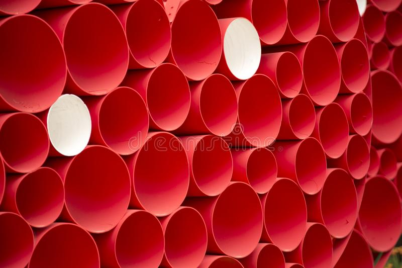 Grupo de fundo das tubulações de água vermelha foto de stock