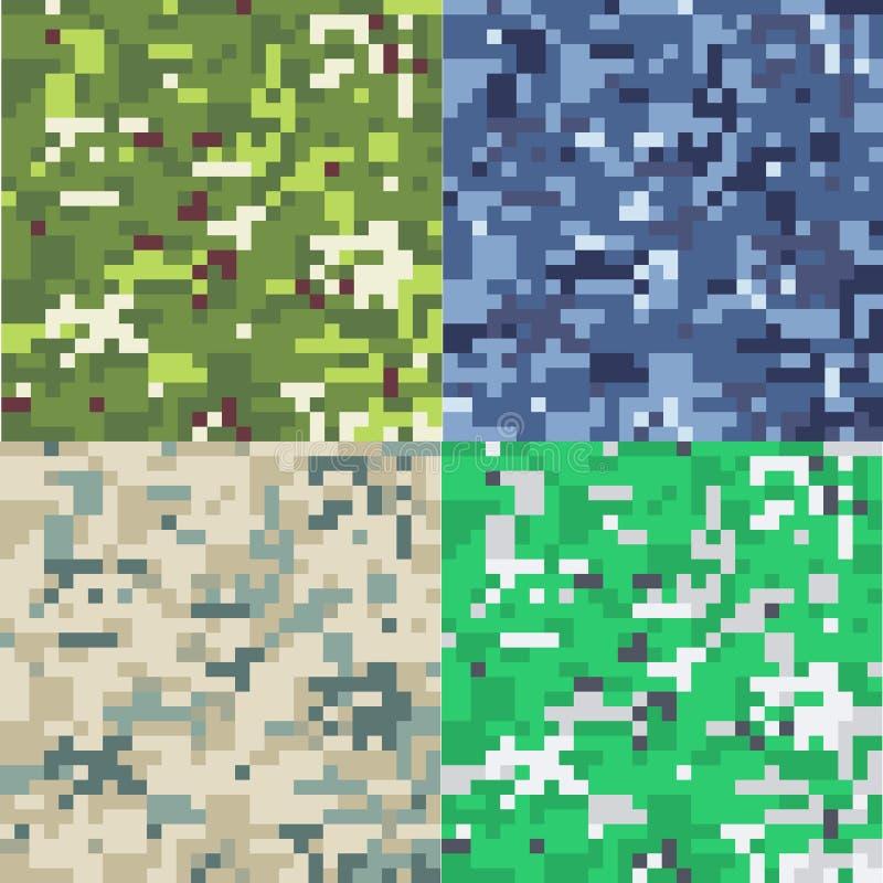 Grupo de fundo militar da camuflagem no estilo do pixel ilustração stock