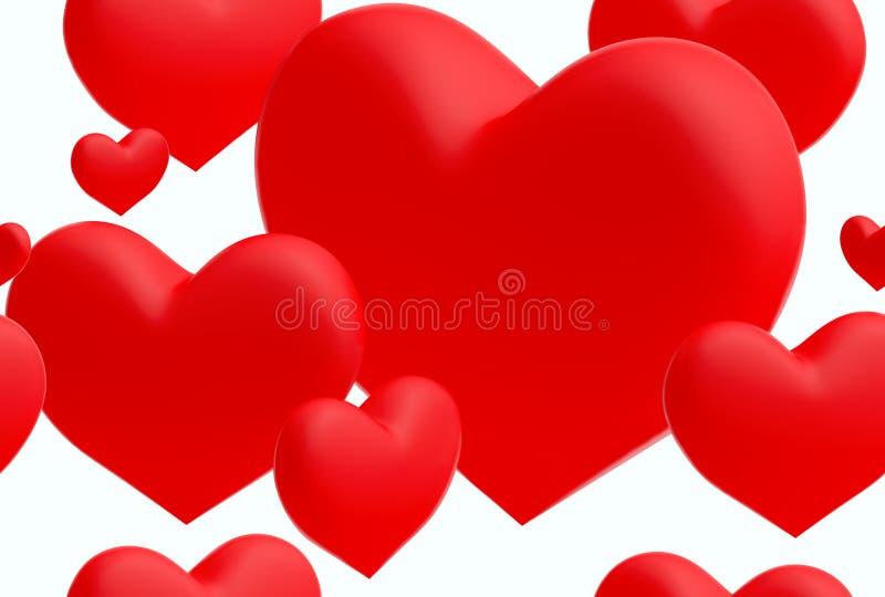 Grupo de fundo sem emenda dos corações vermelhos () (3D rendem) imagens de stock royalty free
